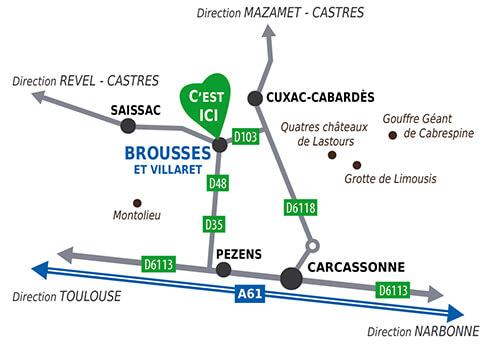 Plan d'accès au Moulin à Papier depuis carcassonne